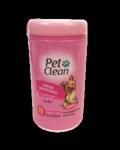 Lenços Umedecidos Fêmea Pet Clean para Cães e Gatos - 75 un